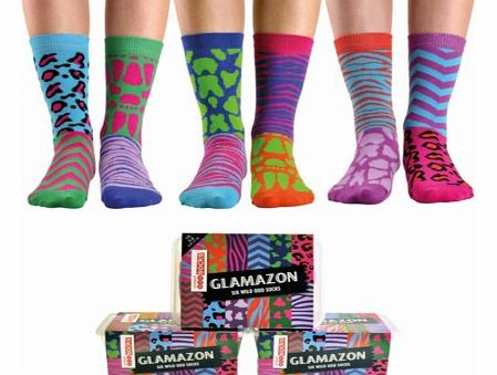 Glamazon - Animal Print Odd SocksThese gorgeous brightly coloured, animal print design odd socks are perfect for the girl with a bit of a wild side.The Glamazon socks are 6 individual socks which you can mix and mismatch together to suit your mood. T