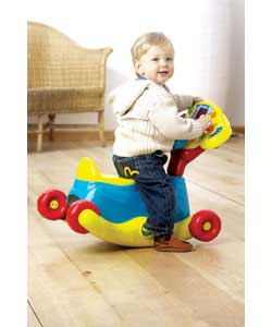 3-in-1 to grow with the child for floor play, rocker and ride on fun. Starts as a detachable driver