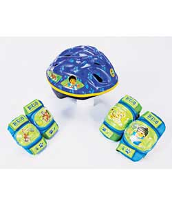 Polythene shell. Colour green and blue. Head size from 48 to 54cm. 4 vents. Helmet clip.Quick releas