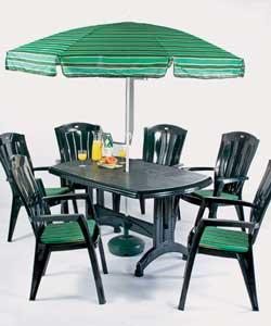 Table size (L)150cm. 6 high back stacking armchairs. Includes parasol and seat cushions. Adjustable