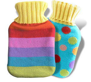 Small  but very stylish hot bot`s with colourful woolly jumper-style covers. This groovy option may