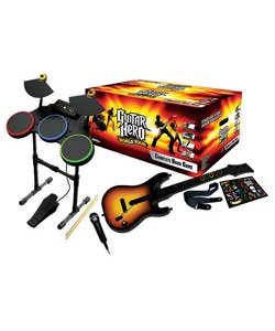 Complete band game with state of the art wireless instruments including Guitar, Drums and Microphone