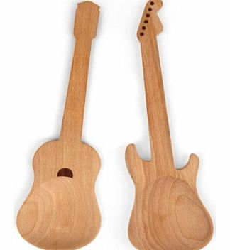 Rockin Guitar Serving SpoonsYoull be rocking around the kitchen and dining room while using this pair of funky electric and acoustic guitar shaped spoons.These rockin utensil/spoons are great for a multitude of uses, whether used as kitchen spoons wh