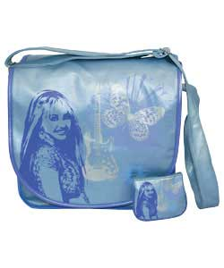 A fashionable record bag and purse set featuring Hannah Montana. For ages 3 years and over.