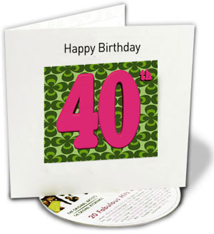 Happy 40th Birthday - CD with 3D greeting cardNeon legwarmers, fluorescent  shellsuits and big hair