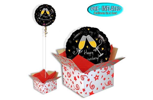 Pre inflated 18 inch foil ballon. Delivered inflated with helium in a coloured tissue paper lined box. This product has a float time of approximately 7 days from day of dispatch. Pre inflated 18 inch balloon. Foil balloon. EAN: AAB01136001.