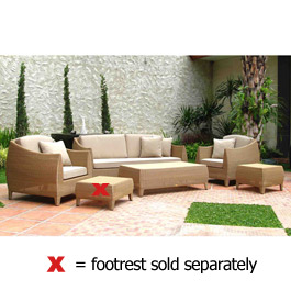 Discounted set of Havana Coffee Table with a 2 Seater Sofa and 2 Armchairs in golden teak from the