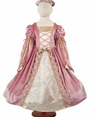 This gorgeous princess dress is made from rich pink velour and is trimmed with gold lace and pink roses. This is made in a sumptuous style that comes with a head garland. gold cape and includes a hooped skirt. Suitable for height 98 to 110cm. For age