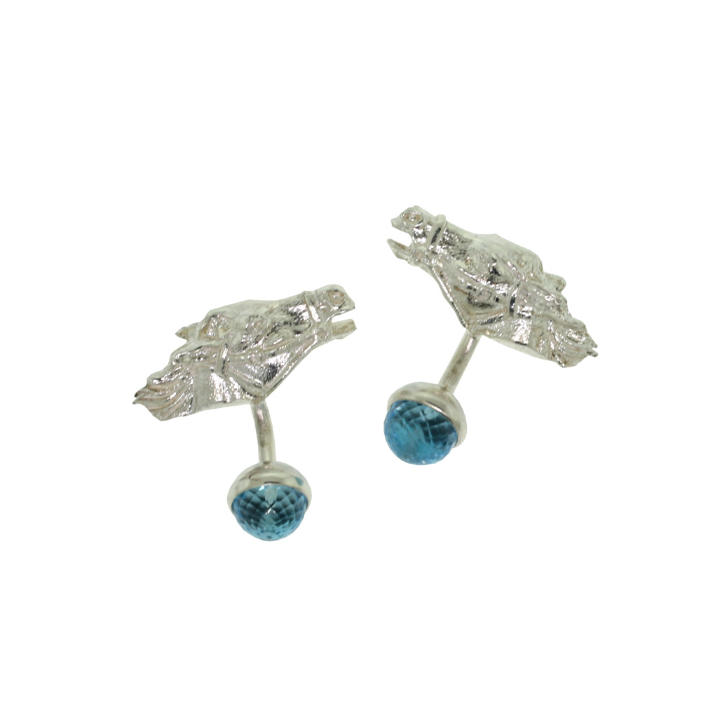 Unbranded Horse Head Cufflinks - Silver and Topaz