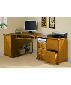 Solid pine wood and wooden knob.No shelves.Metal runners for suspension files.Suitable for scanner.S