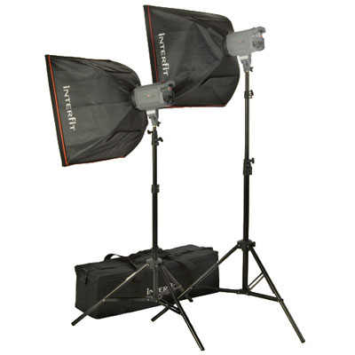 This Interfit Stellar 150 flash twin softbox kit forms the main building blocks of a complete studio