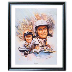 This Jack Brabham print shows Brabham in his three World Championship winning years. The painting is