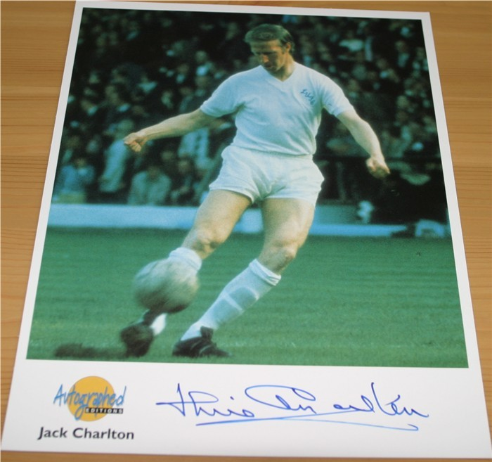 Autographed Editions photo signed in blue pen by the England World Cup winning star Jack Charlton -