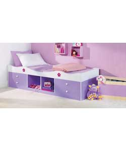 Lilac/white with floral pattern printing.Sprung mattress.Includes 4 storage drawers and 2