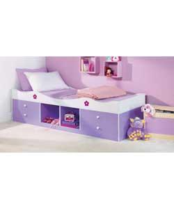 Lilac/white with floral pattern printing. Complete with protector mattress. Includes 4 storage