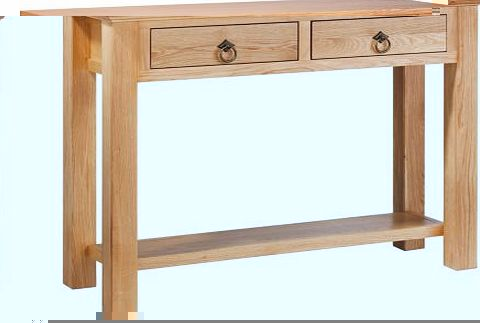 Solid oak and oak veneer. this classic feel console table is finished in lovely natural oak colour. Featuring 1 shelf and 2 drawers. it is a practical and stylish piece of furniture. Part of the Kensington collection. Size H75. W100. D32cm. 2 drawers