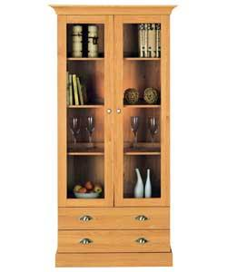 Size (H)200, (W)130, (D)45cm.Golden oak finish.  3 glass doors with chrome finish cup/oval knob hand