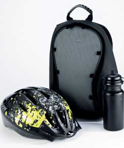 Contains black cycle helmet 52-56cm and one set of knee and elbow pads.