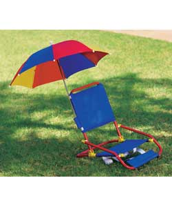 This beach chair with parasol folds down into a po