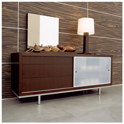 Ideal for storing plates and cutlery  this contemporary sideboard is suitable for that modern dining