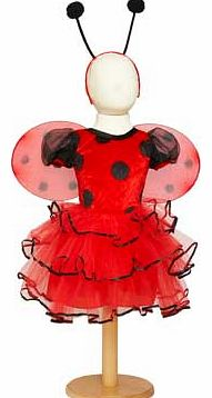 A soft red and black velour spot bodice with a pretty ribbon edged. net layered skirt. This style includes antennae bopper and cute removable wings. Suitable for height 86 to 92cm. For ages 18 months and over. Polyester. EAN: 5014568222205. WARNING(S