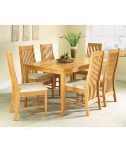 Solid wood with veneer.Size of table (H)90, (W)74, (L)150cm. Size of each chair (H)100, (W)42.5, (D)