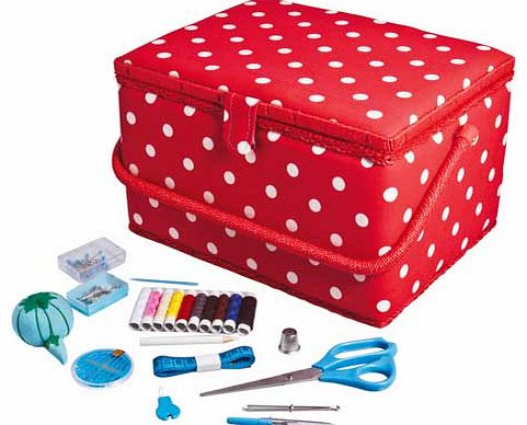 Red polka dot sewing box with removable. internal storage tray with compartments. Comes complete with accessories such as scissors. thread. seam ripper and much more. Includes: removable internal plastic storage tray with compartments. scissors. asso