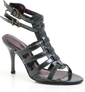 Patent leather strappy sandal featuring double ankle strap with buckle detail. Inspired by this seas