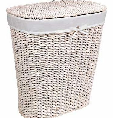This white linen bin is ideal for holding laundry. towels and other linen. The cool white colour looks great in any bathroom. giving you a practical. storage solution without compromising on style. 20% cotton / 80% polyester liner. Capacity 75 litres