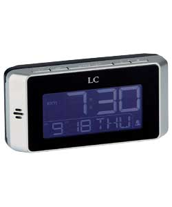Black and silver case.Digital LCD display.Digital alarm.Snooze function.Calendar and date display.Ba