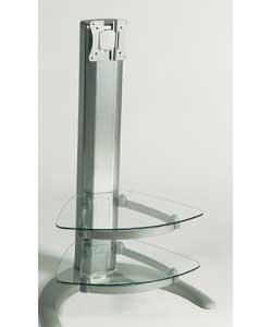 Suitable from 20in upto 32in LCD. 2 x glass shelves. Aluminium centre support. Metal base. Easy to