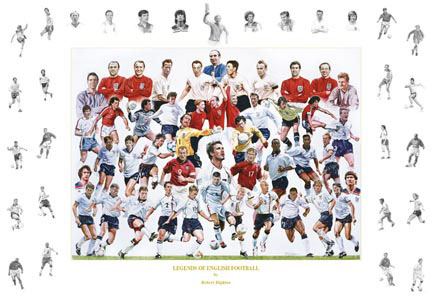 `Legends of English Football` by Rob Highton - a limited edition of 500 prints signed by Sir Geoff