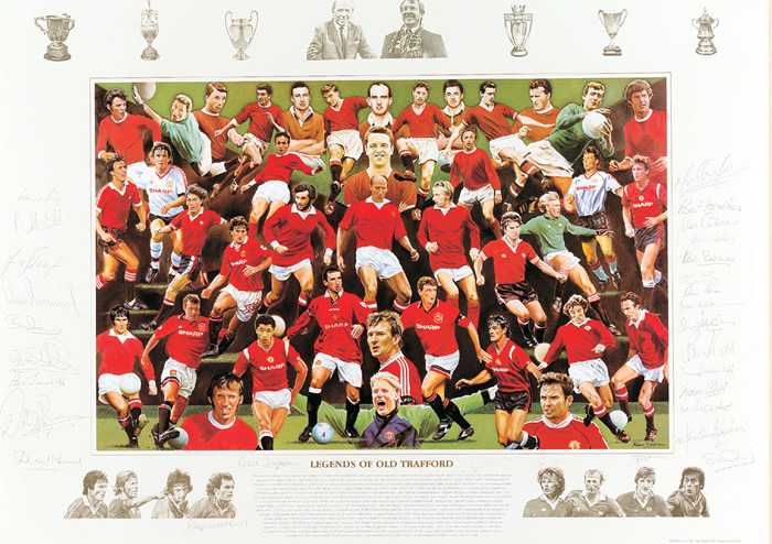 `Legends of Old Trafford` by Rob Highton - a limited edition of 2000 prints signed by Sir Alex