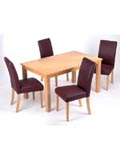 The Lexington Dining Setis afantastic beech finish table with 4 leather look chairs featuring