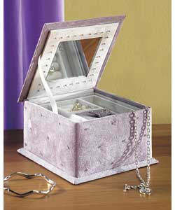 Lilac jewel box with butterfly embroidery and sequ