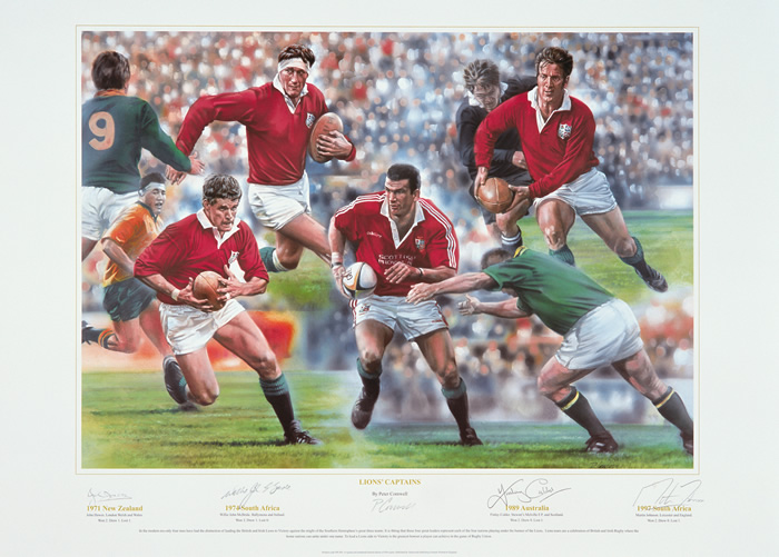 `Lions Captains` by Peter Cornwell - a limited edition of 850 prints signed by John Dawes  Willie