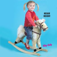 This rocking horse has neighing and trotting sounds, imitation reins and saddle with stirrups and