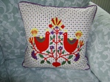 Unbranded Love Birds Embroidered Cushion and Pad