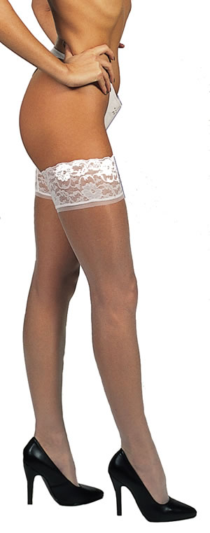 Luxury Deep Lace Top Hold Up Nylon Stockings