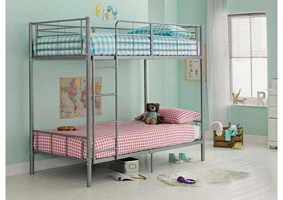 Unbranded Maddison Single Bunk Bed Frame - Silver