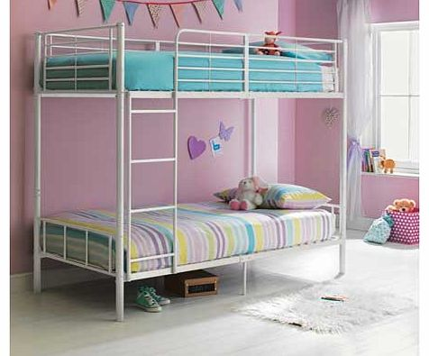Part of the Madison collection. this metal frame bunk bed is perfect for families with young children or simply as a spare bed for sleepovers. The bed can be assembled with the ladder positioned at either end. Plus the 23cm of floor clearance underne