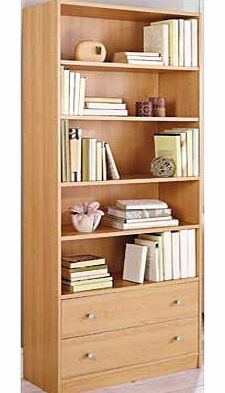 This Maine bookcase gives you a range of practical storage solutions. With extra deep shelves and bottom drawers. make the most out of your available space with this attractive beech effect piece. Part of the Maine collection Size H180. W78. D29cm. 1