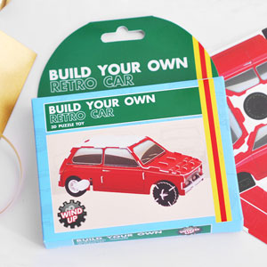 This Make Your Own Wind Up Retro Car 3D Puzzle Toy would make a fab gift for little boys or big boys that just like to have some good old fashioned fun.From the Build Your Own Wind Ups Collection; this retro wind up car puzzle comes flat packed in a