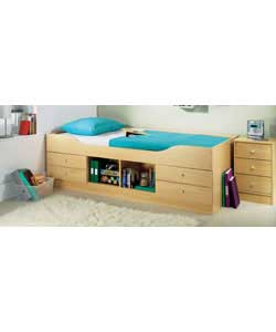 Beech effect.Includes 4 drawers and a central open storage section on the side of the bed.Complete