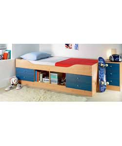 Pine effect with 4 blue drawers and a central open storage section on the side of the bed.Complete
