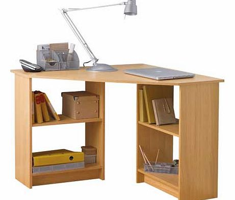 Versatile. simple and stylish. the Malibu range is a great choice for your home office. This corner desk in beech effect is ideal for the smaller office. creating a smart and attractive workspace. Featuring fixed shelves. it provides plenty of storag