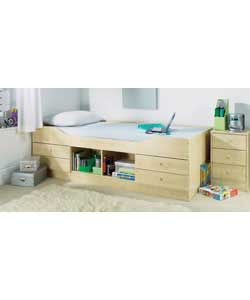 Maple effect.Includes 4 drawers and a central open storage section on the side of the bed.Complete