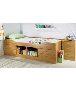 Pine effect with 4 drawers and a central open storage section on the side of the bed.Complete with