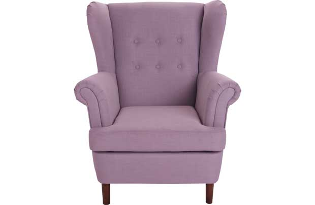 This throwback style Martha Wingback Chair in lilac would make a perfect addition to any living room. Its anachronistic design will add touch of vintage style and elegance to your home. A very comfortable