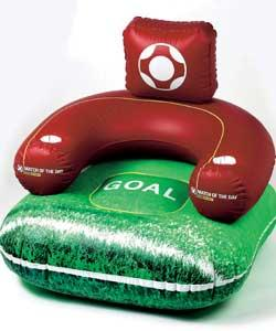 Sit back and enjoy the match to the MoTD theme tune.This comfy inflatable chair has armrest drink